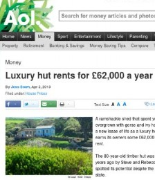 Luxury hut rents for 62,000 a year